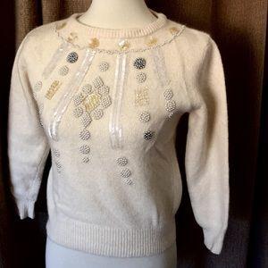 Beautiful Vintage wool and angora beaded sweater